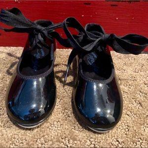 New, Children's Capezio Black Patent Tap Shoes